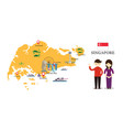 singapore map and landmarks with people in vector image