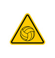 attention volleyball danger yellow road sign vector image vector image