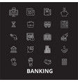 banking editable line icons set on black vector image vector image