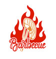 barbecue hand written lettering logo label badge vector image vector image