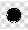 black circle seal stamp with white ribbon vector image vector image