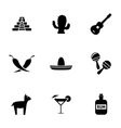 black mexico icons set vector image vector image