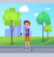boy riding on personal transporter in park vector image vector image