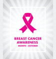 breast cancer awareness ribbon vector image vector image