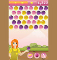 bubble shooter game interface with bonus vector image