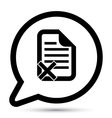 bubble with document reject icon vector image vector image