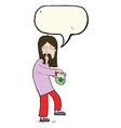 cartoon hippie man with bag of weed with speech vector image vector image
