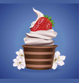 chocolate cupcake with vanilla frosting and vector image