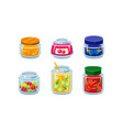 collection of glass jars with preserved fruit and vector image