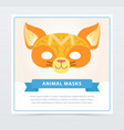 colorful cat masquerade mask cute domestic animal vector image