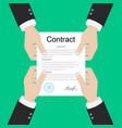 contract signing a male left hand holds a vector image