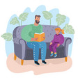dad reading a book to his daughter fatherhood vector image vector image