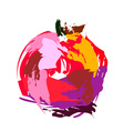 Drawing pomegranate vector image