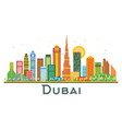 dubai uae city skyline with color buildings vector image vector image