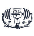 dumbbell in hand symbol for sports vector image