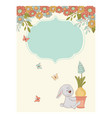 garden hare spring birthday greeting card vector image