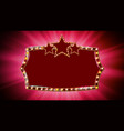 gold frame light bulbs red background vector image