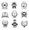 Graduation labels High School and congratulations vector image