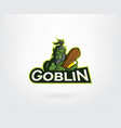 green angry goblin mascot character logo vector image vector image
