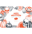 halloween banner template hand drawn design vector image vector image