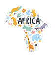 hand drawn map africa with charactes vector image vector image