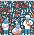 hand drawn seafood restaurant banner vector image vector image