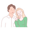 happy in love couple young man and woman isolated vector image