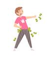 happy wealthy man throwing money lucky successful vector image vector image
