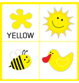 learning yellow color sun bee and duck educational vector image