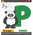 letter p from alphabet with panda animal character