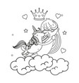 line girl hugging unicorn in the clouds with crown vector image vector image