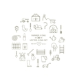 Line icons farmer round set vector image