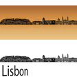 Lisbon V2 skyline in orange vector image vector image