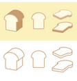 loaf bread and piece bread for bakery icon vector image vector image