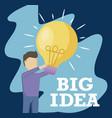 man holding light bulb idea icon vector image vector image