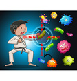 Man in karate clothes fighting bacteria vector image vector image