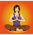 Meditating woman with speech bubble in retro pop vector image vector image