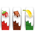 milk splash with strawberry chocolate banana vector image