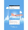 Mobile application and plane flying over the city vector image vector image