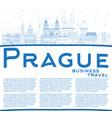 outline prague czech republic city skyline vector image vector image