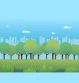 public park with grass and cityscape vector image vector image