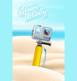 realistic action camera on beach sand background vector image