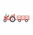 red tractor with trailer vector image