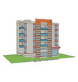 residential building on white background vector image vector image