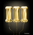roman 3 number gold foil balloon iii form vector image vector image