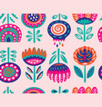 seamless pattern with scandinavian flowers vector image vector image