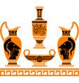 set of hellenic vases stencils vector image vector image