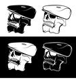set skulls in cap abstract design template vector image