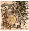 Shaman bear and eagle An hand drawn picture Line vector image