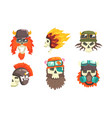 skull heads with beards wearing retro helmets set vector image